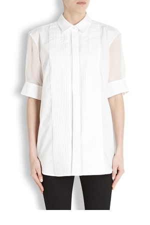 McQ Alexander McQueen White pleated cotton and silk shirt