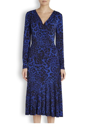 MICHAEL Michael Kors Blue leopard print jersey dress