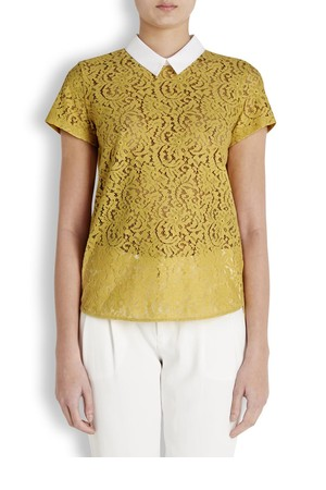 N 21 Yellow lace and jersey top