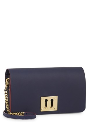 Sophie Hulme Navy leather clutch