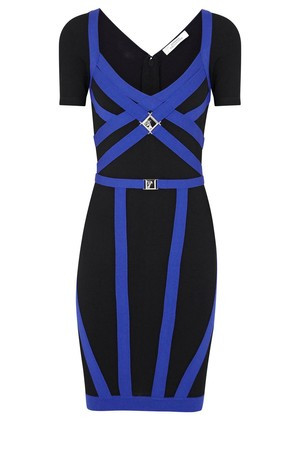 Versace Collection Black and blue strap embellished stretch jersey dress