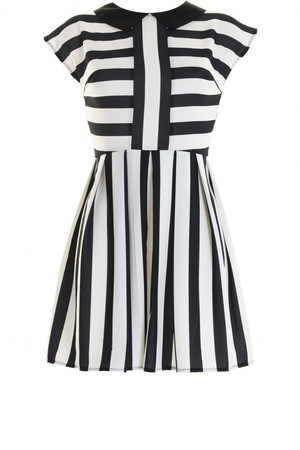 LOVE Black and White Stripe Jersey Skater Dress With Contrast Collar