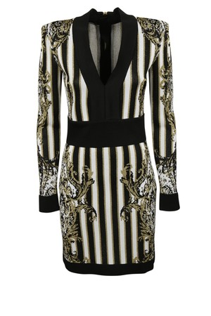 Balmain Balmain Striped Baroque Dress