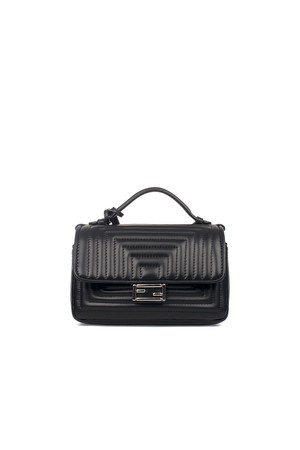 Fendi Black Double Micro Baguette Nappa Leather Top Handle Bag