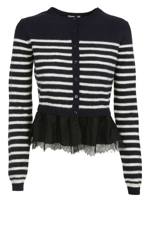 RED Valentino Red Valentino Striped Ruffle Hem Cardigan