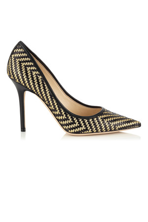 Jimmy Choo Abel Woven Black Kid Leather and Gold Woven Metallic Thread Pointy Toe Pumps