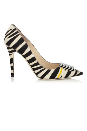 Jimmy Choo Dimple Black and White Zebra Print Pony with Yellow Stripe Pointy Toe Pumps