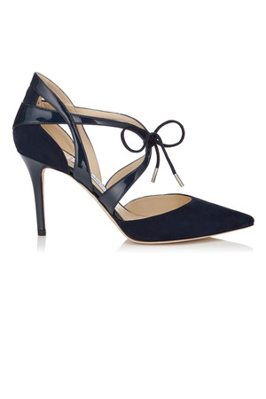 Jimmy Choo Lusion Navy Suede and Patent Pointy Toe Pumps