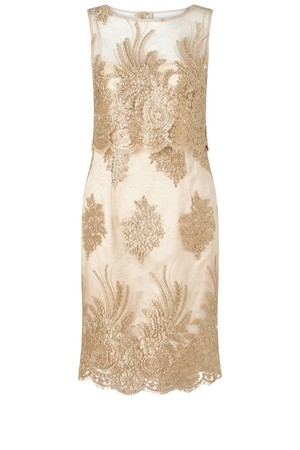 Adrianna Papell Metallic Corded Lace Popover Dress Gold
