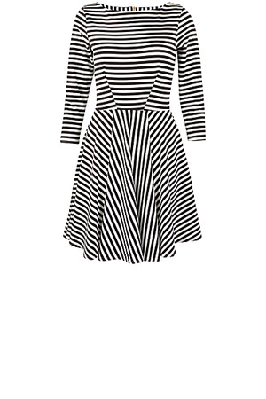 Closet Stripe Skater Dress Black White