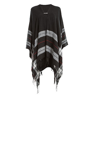 Max Studio Border Stripe Poncho Black
