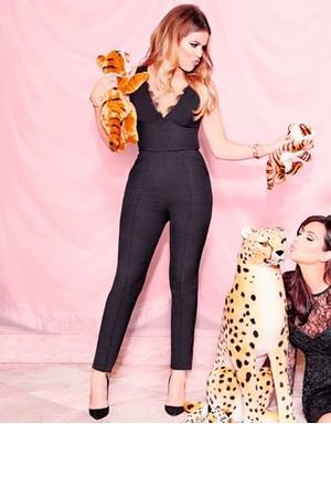 Khloe Kardashian Black Lace Jumpsuit Lipsy Launch Party