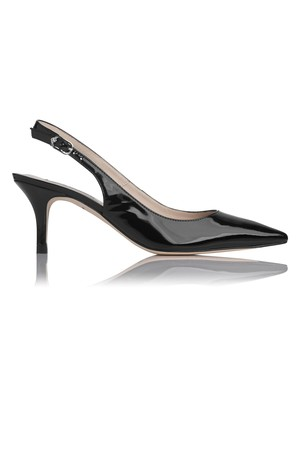 LK Bennett Florita Patent Leather Slingback Court Black