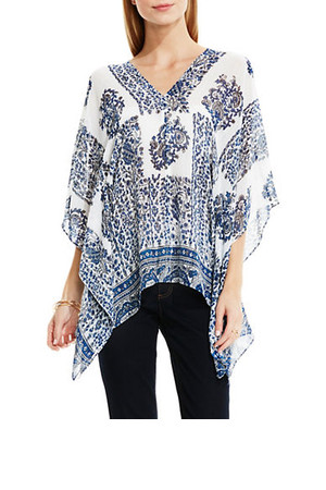Two By Vince Camuto Caravan Block Border Poncho Top