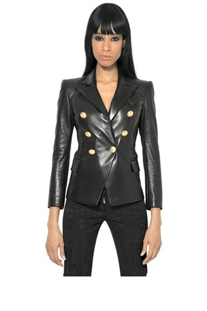 Balmain Double Breasted Nappa Leather Jacket