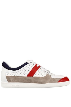 Dior Homme Perforated Leather And Suede Sneakers