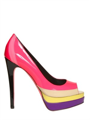 Ruthie Davis 130mm Patent Multicolor Peep Toe Pumps