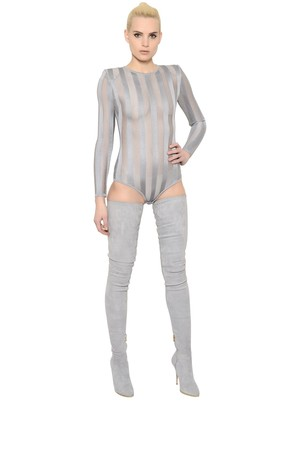 Sheer Stripes Stretch Bodysuit