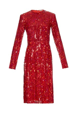Nina Ricci Long Sleeved Sequin Embellished Dress