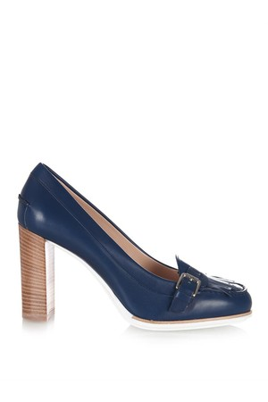 Tods Gomma Round Toe Leather Pumps