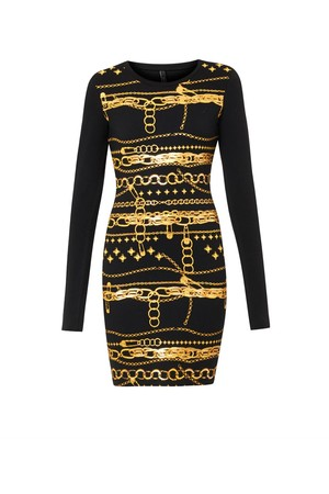 Versus Chain Print Jersey Dress