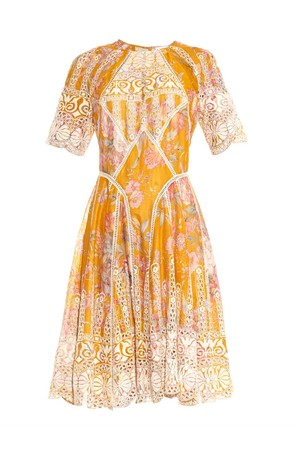 Zimmermann Confetti Scallop Floral Print Cotton Dress