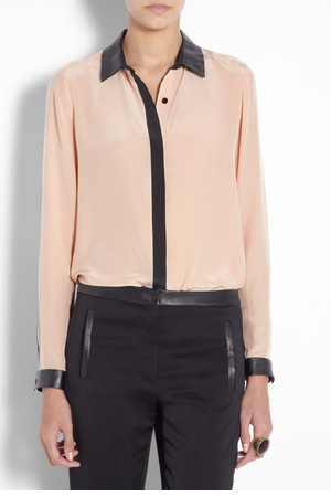 Blush Leather Trim Silk Shirt by Tibi