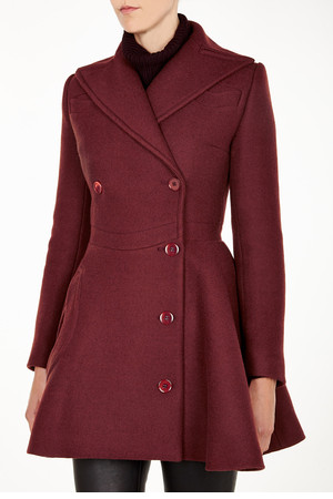 Burgundy Nipped Waist Swing Coat By Carven