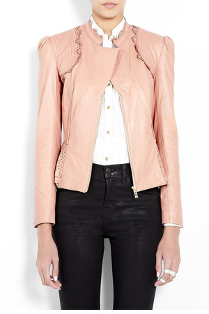 Pink Lasercut Leather Jacket by ALICE By Temperley