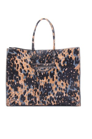 Balenciaga Papier A4 Animal Print Haircalf Tote
