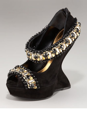 Alexander McQueen Jeweled Finned Wedge Pump