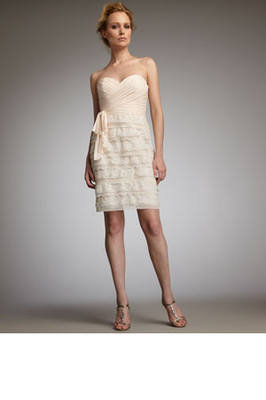 Badgley Mischka Platinum Label Ruched Lace Dress