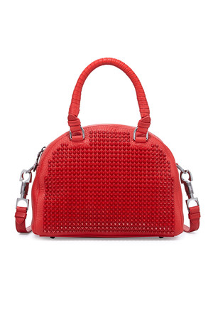 Christian Louboutin Panettone Small Spiked Satchel Bag Red from Neiman Marcus