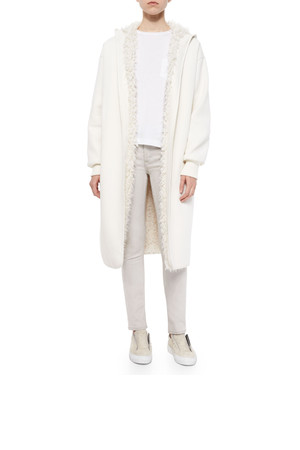 Helmut Lang Reversible Faux Fur Lined Long Coat