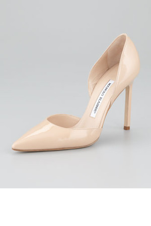 Manolo Blahnik Tayler Patent Pointed dOrsay Nude