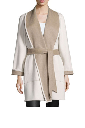 Sofia Cashmere Reversible Double Face Wrap Coat