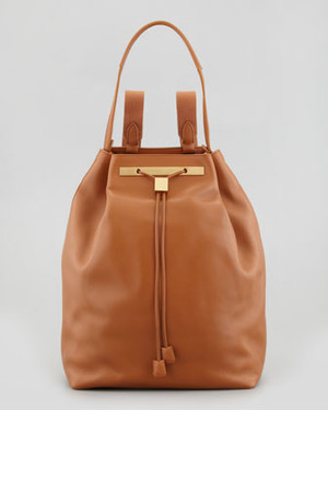 THE ROW Hobo Leather Hobo Backpack Camel