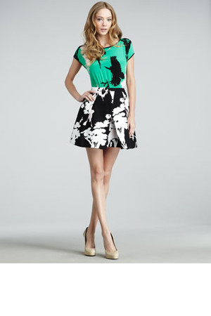 Tibi Easy Bird Print Combo Dress