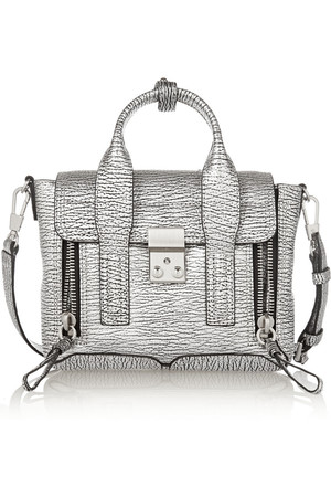 31 Phillip Lim The Pashli Mini Metallic Textured Leather Trapeze Bag
