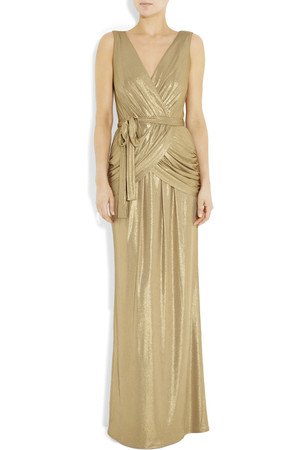 Alice By Temperley River Golden Belted Draped Lam Gown