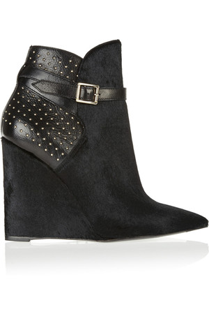Burberry Prorsum Studded Leather And Calf Hair Wedge Ankle Boots