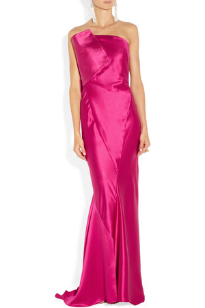 Donna Karan Strapless Duchess Satin Gown