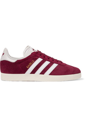 Adidas Originals Gazelle Suede And Leather Sneakers Burgundy Intl Shipping