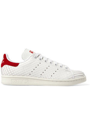 Adidas Originals Stan Smith Suede Paneled Sliced Leather Sneakers White Intl Shipping