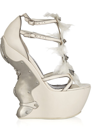 Alexander Mcqueen Metal Plated Leather Platform Sandals Intl Shipping