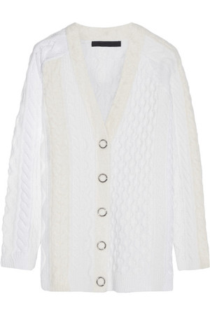 Alexander Wang Cable Knit Wool Blend Cardigan Ivory Intl Shipping