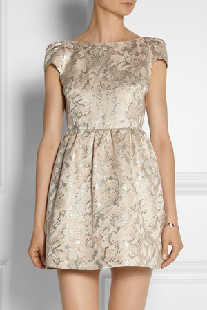 Alice Olivia Nelly Metallic Jacquard Dress Intl Shipping