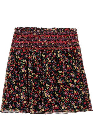 Anna Sui Smocked Printed Silk Crepon Mini Skirt Black Intl Shipping