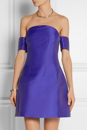 Carven Off The Shoulder Satin Twill Mini Dress Intl Shipping