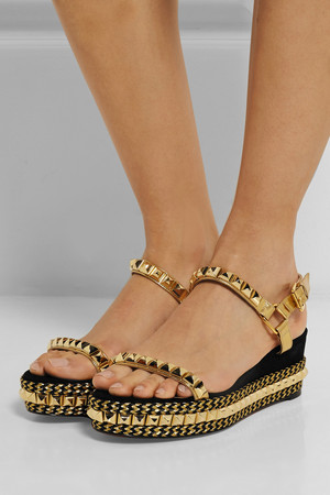 Christian Louboutin Cataclou 60 Embellished Suede And Leather Wedge Sandals Intl Shipping